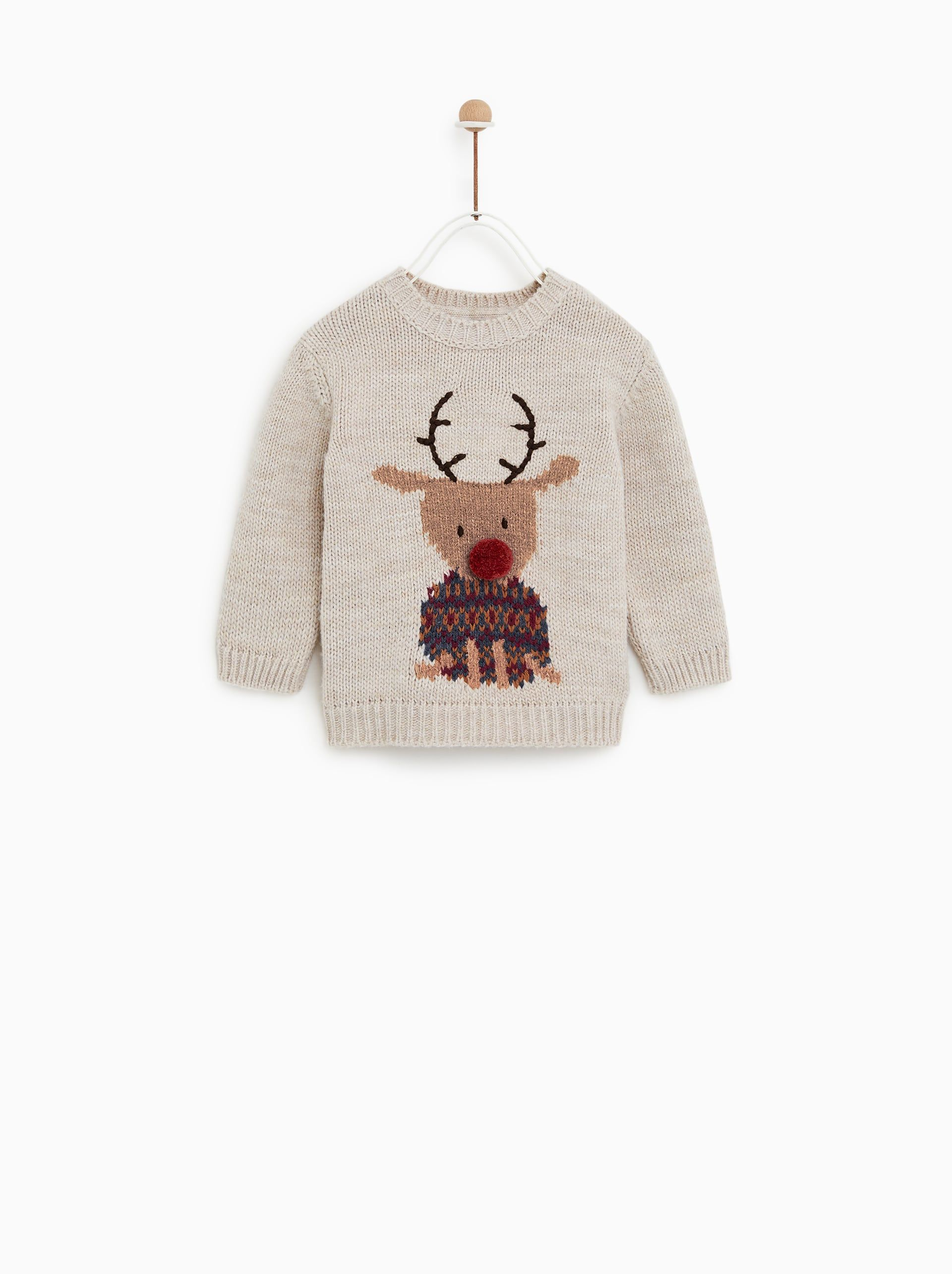 Ruffled knit sweater | Reindeer sweater, Sweaters, Boy outfits
