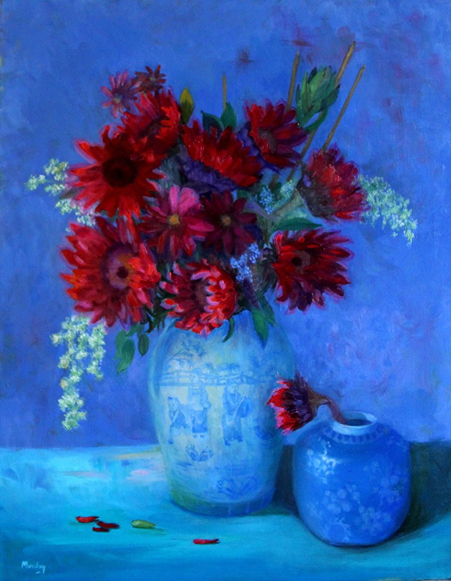 Red Sunflower Bouquet II by Diane Monday Oil ~ 28 x 22