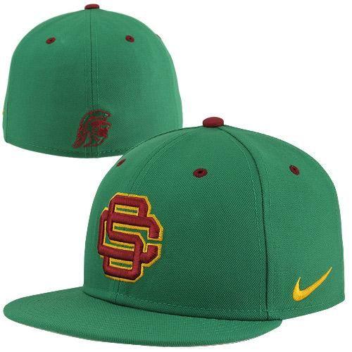 fe25fd127f5d6 Nike USC Trojans True Authentic Fitted Baseball Hat - Green