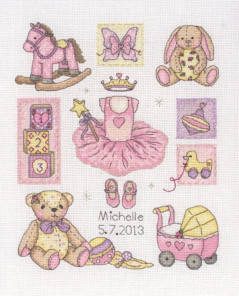 baby girl birth sampler anchor cross stitch kit crafts