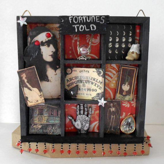 gypsy fortune teller's box   Shadow Box Art - Fortune Teller Gypsy - Wall Art