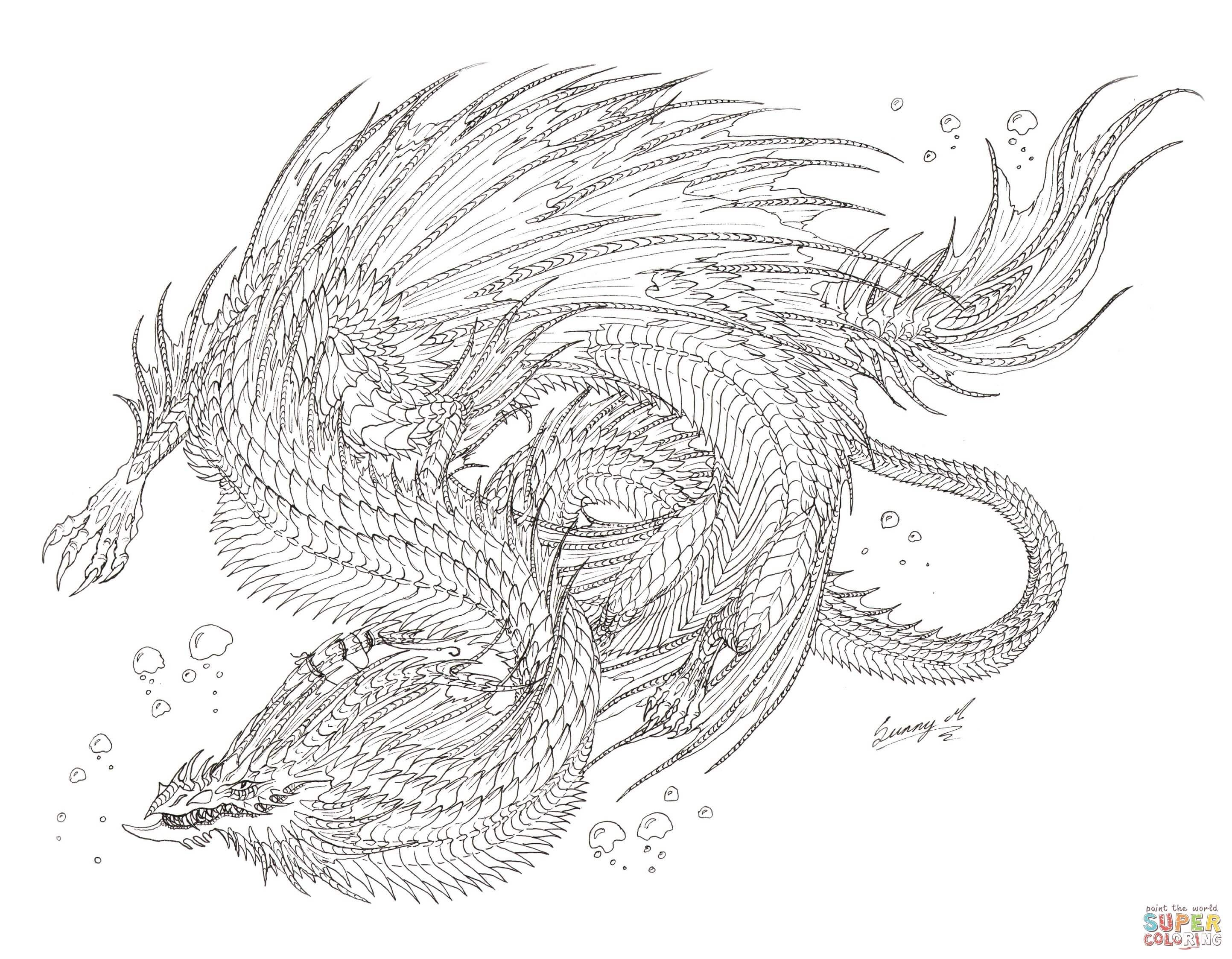 sea serpent dragon coloring page free printable coloring pages