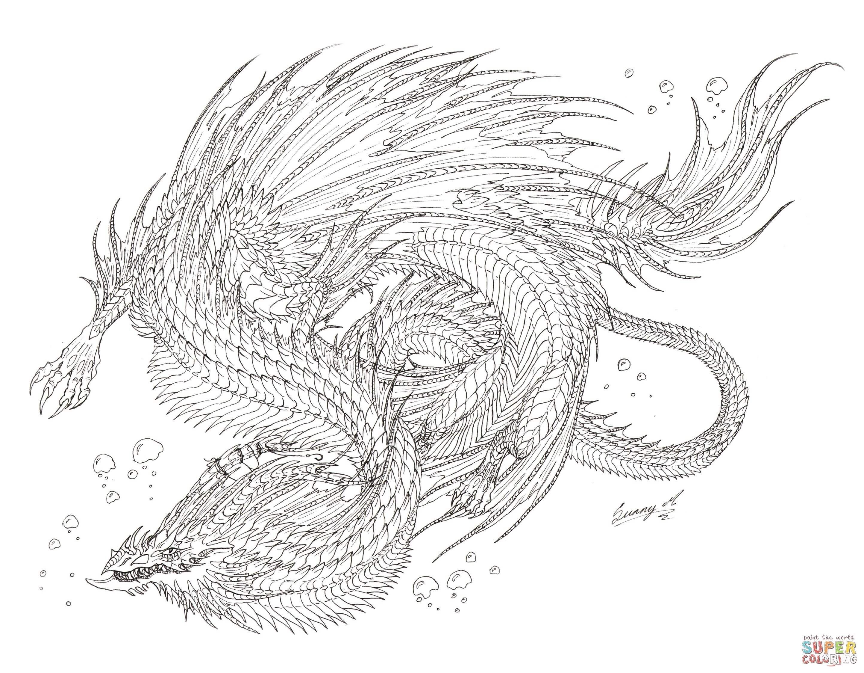 Sea Serpent Dragon Coloring Page Free Printable Coloring Pages Monster Coloring Pages Dragon Coloring Page Snake Coloring Pages
