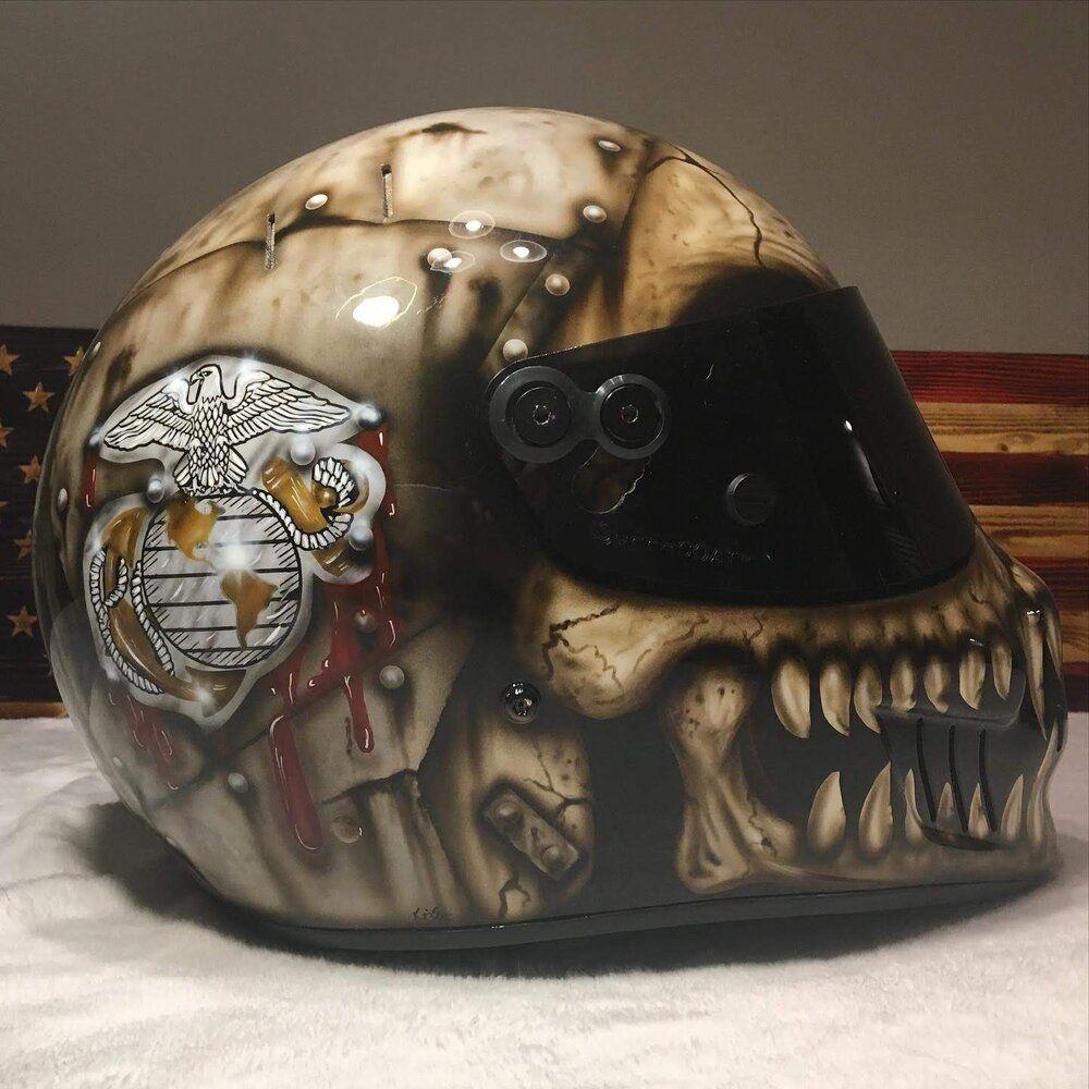 USMC Race Helmet in 2020 Austin art, Air brush painting