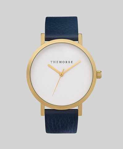 Brushed Gold/Navy Watch by The Horse