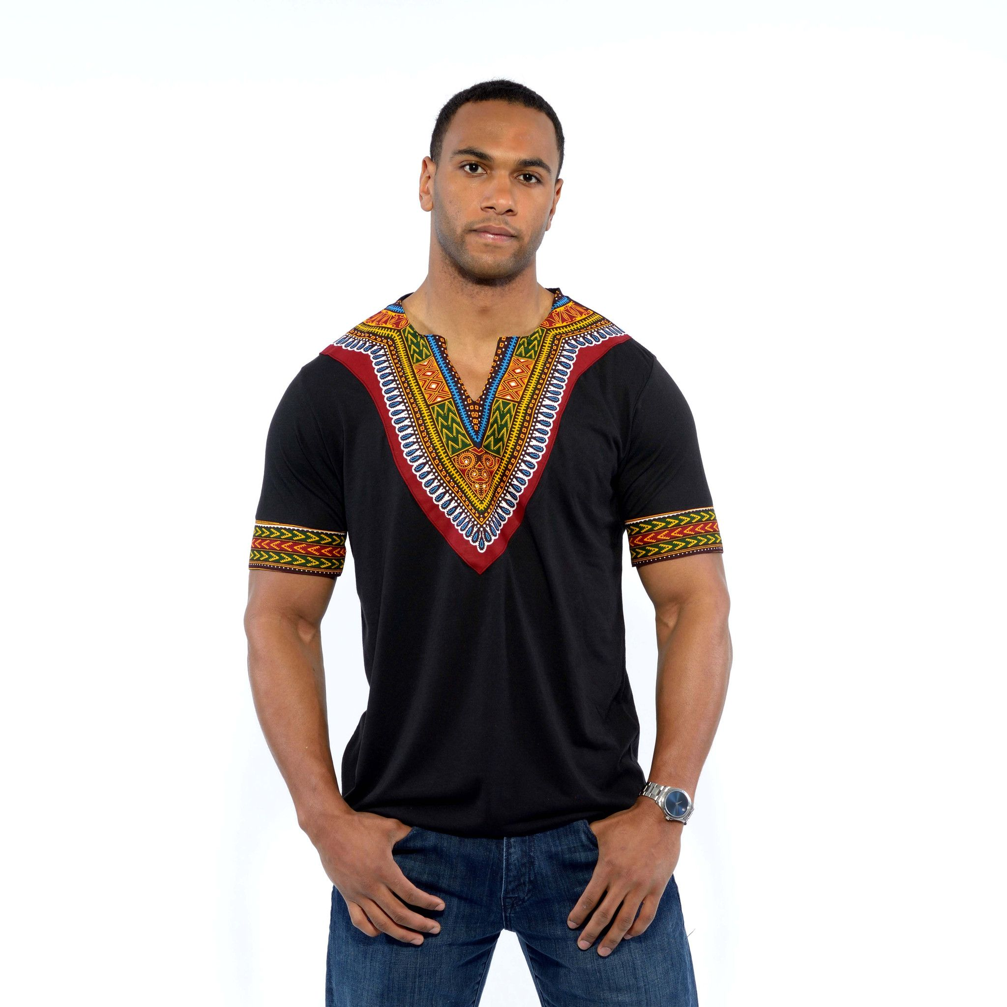 Men's African Print Dashiki T-Shirt (Black)