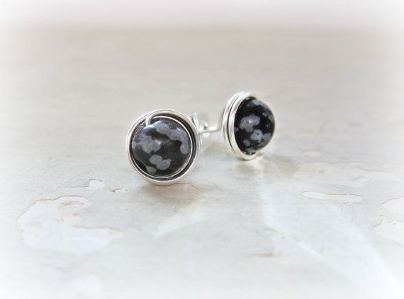Snowflake Obsidian Stud Earrings Sterling Silver Wire Wred Posts Natural Stone Studs Wrap Black