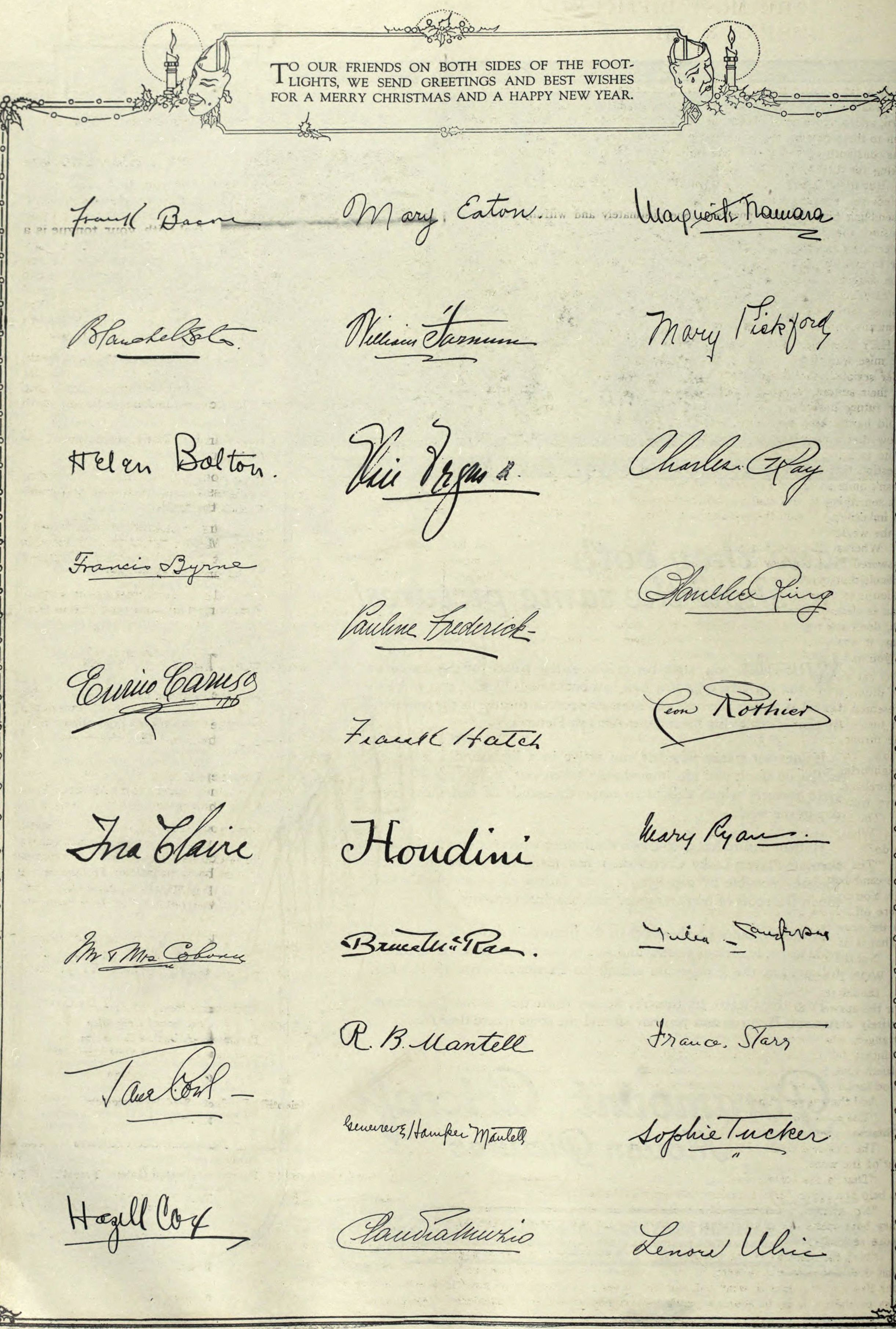 Famous Signatures Christmas Greetings 1910 The Theater