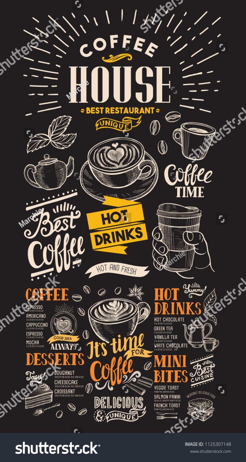 Blackboard Coffee Restaurant Menu Vector Drink Flyer For Bar And Cafe Design Template With Vintage Hand Coffee Shop Menu Cafe Menu Design Coffee Restaurants