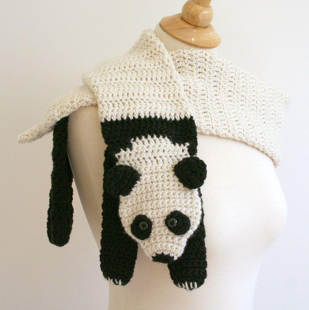 Digital PDF Crochet Pattern for Panda Bear Scarf - DIY Fashion ...