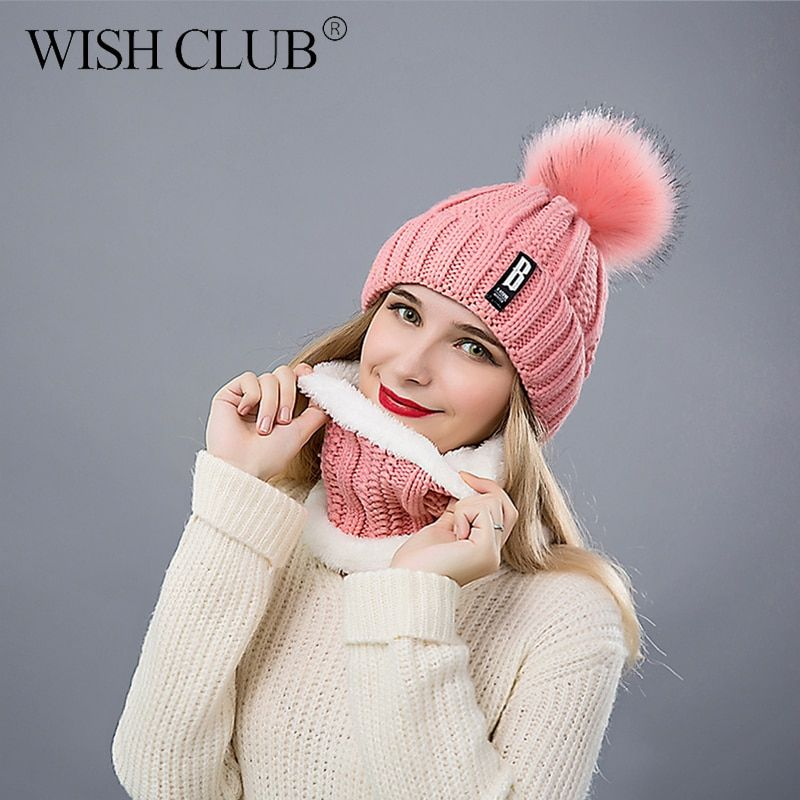 d5122ef2c55  12.91 - Nice WISH CLUB Fashion Winter Hat Thickened Cotton Women s Hat  Warm Pom Poms Hats For Women Girl Knitted Beanies Female Cap - Buy it Now!