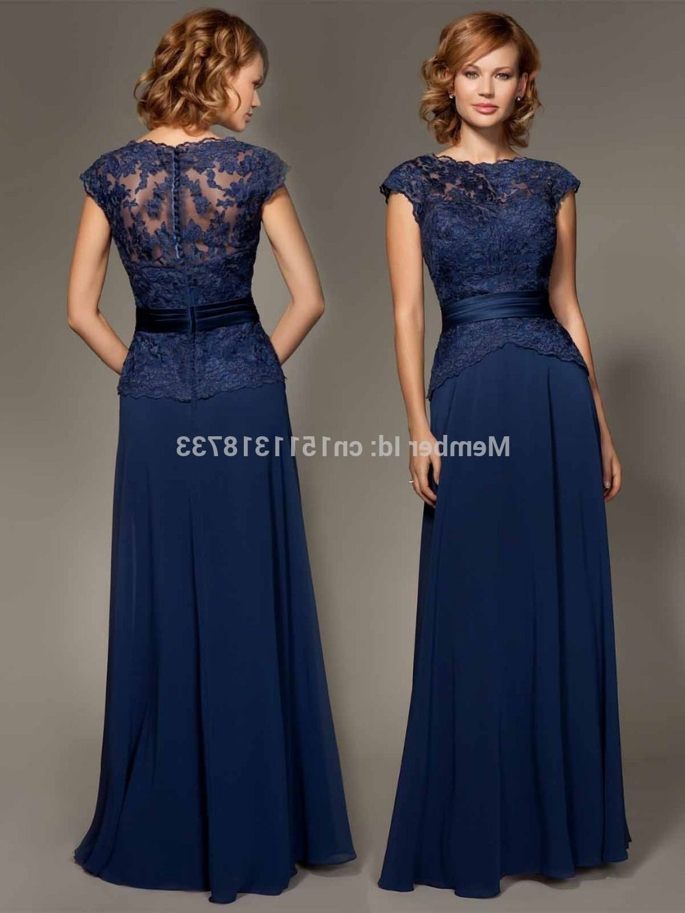 Navy blue bridesmaid dresses with lace for Navy blue maxi dress for wedding