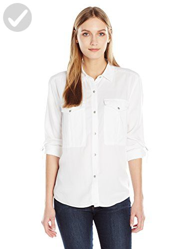 13872830835 Calvin Klein Jeans Women s Long Sleeve Utility Garment Dye Shirt ...