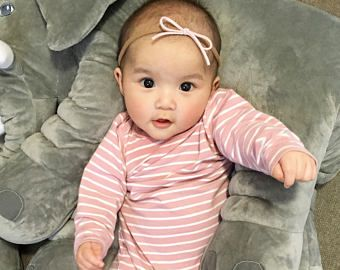 Baby Headband Newborn Headband Baby Pink Headband Nylon Headband Leather Headband Baby Bow Chic Baby Bow Baby Hair Bow Baby