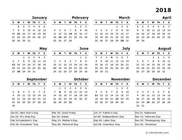 Year Calendar Template With Us Holidays  Desktop