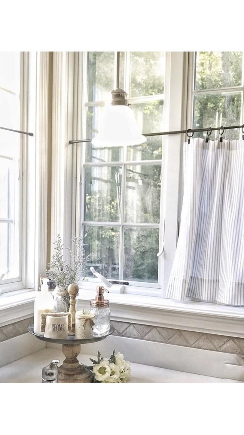 Beautiful Ticking Striped Cafe Curtain