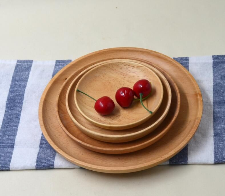 Rubber wooden tray dessert plate round wooden plate specifications tray Hotel : round wooden plates - pezcame.com