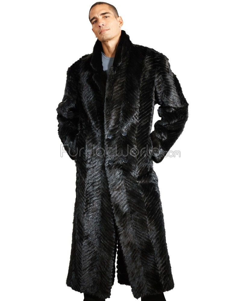 The Aiden V-Cut Full Length Sculpted Mink Coat in Black ...