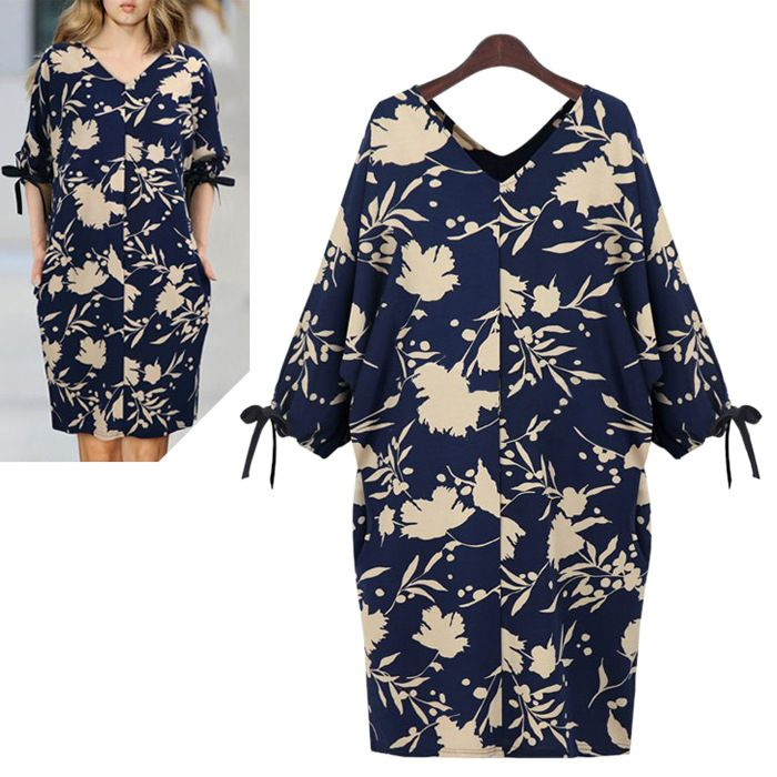 A213 XL - 5XL Plus Size Hot Sell 2015 New Summer Fashion Sexy European Style Loose Floral Printed Batwing Retro Women's Dresses ** Learn more by visiting the image link.