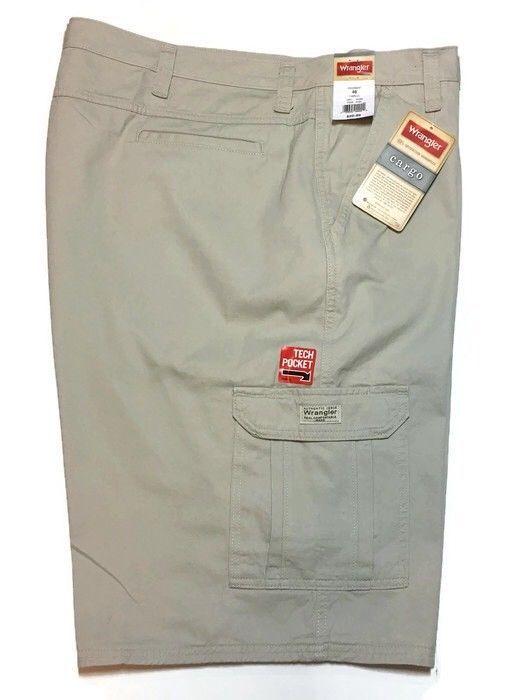 cffd76e2 Wrangler Cargo Shorts 46 x 10.5 Relaxed Fit Khaki Tan Tech Pocket Utility  New #Wrangler #Cargo
