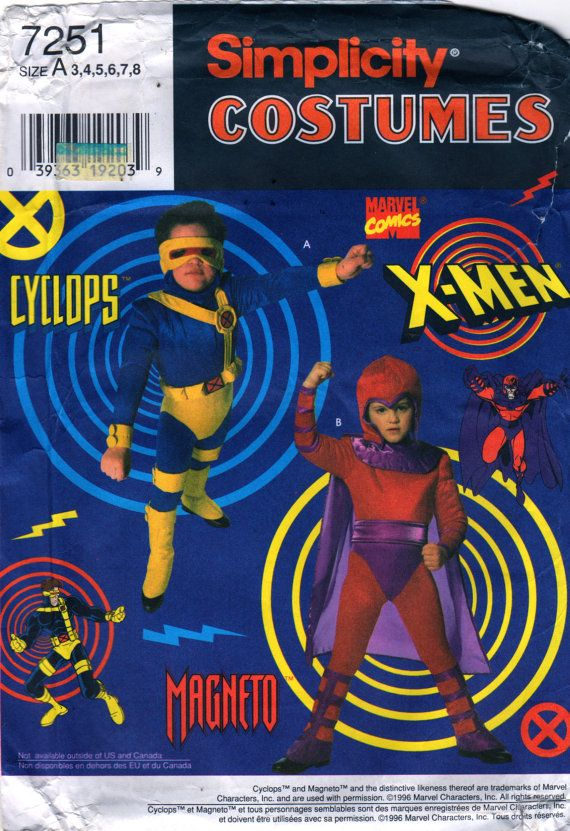 Simplicity 7251 0684 Childs Cyclops X Men Magneto Costume Pattern ...