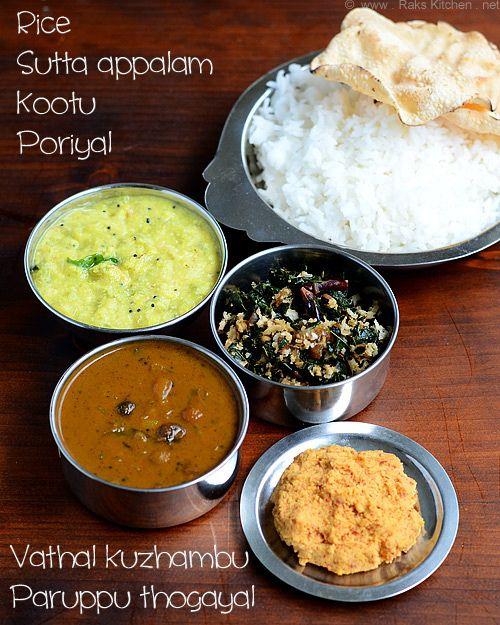 Lunch menu 10 ( With south Indian vathal kuzhambu) | South