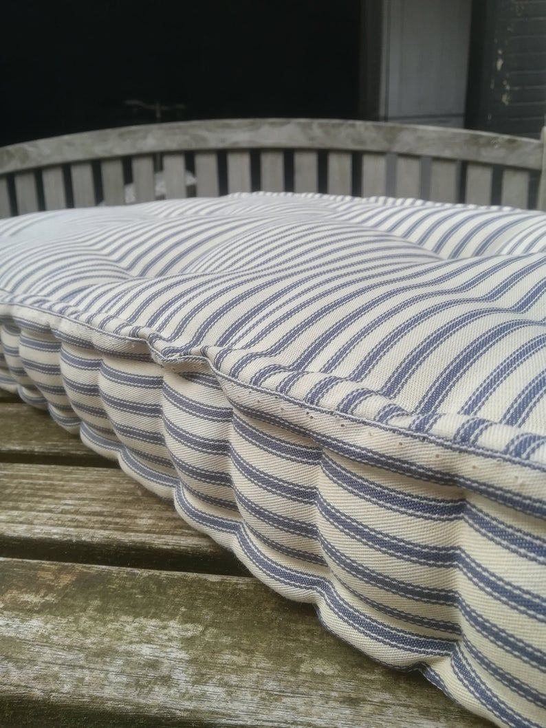 Tufted Cotton Bench Cushion Custom Stripe Window Seat Etsy In 2020 Daybed Cushion French Mattress Bench Cushions