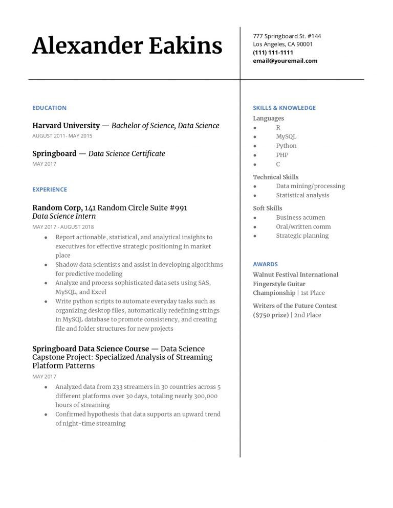 Example One Page Data Science Resume Data Science Job Resume Examples Resume Examples