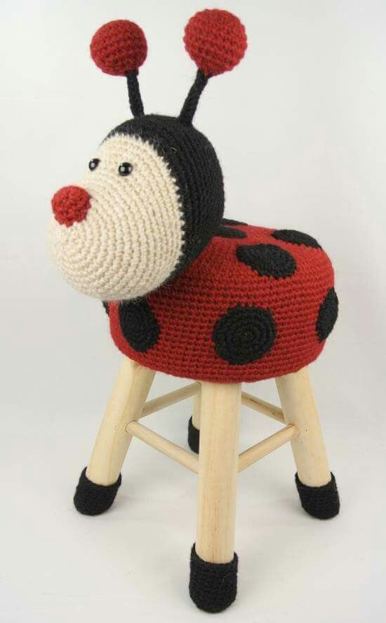 Ladybug Stool Bichinhos De Croche Pinterest Häkeln Stricken