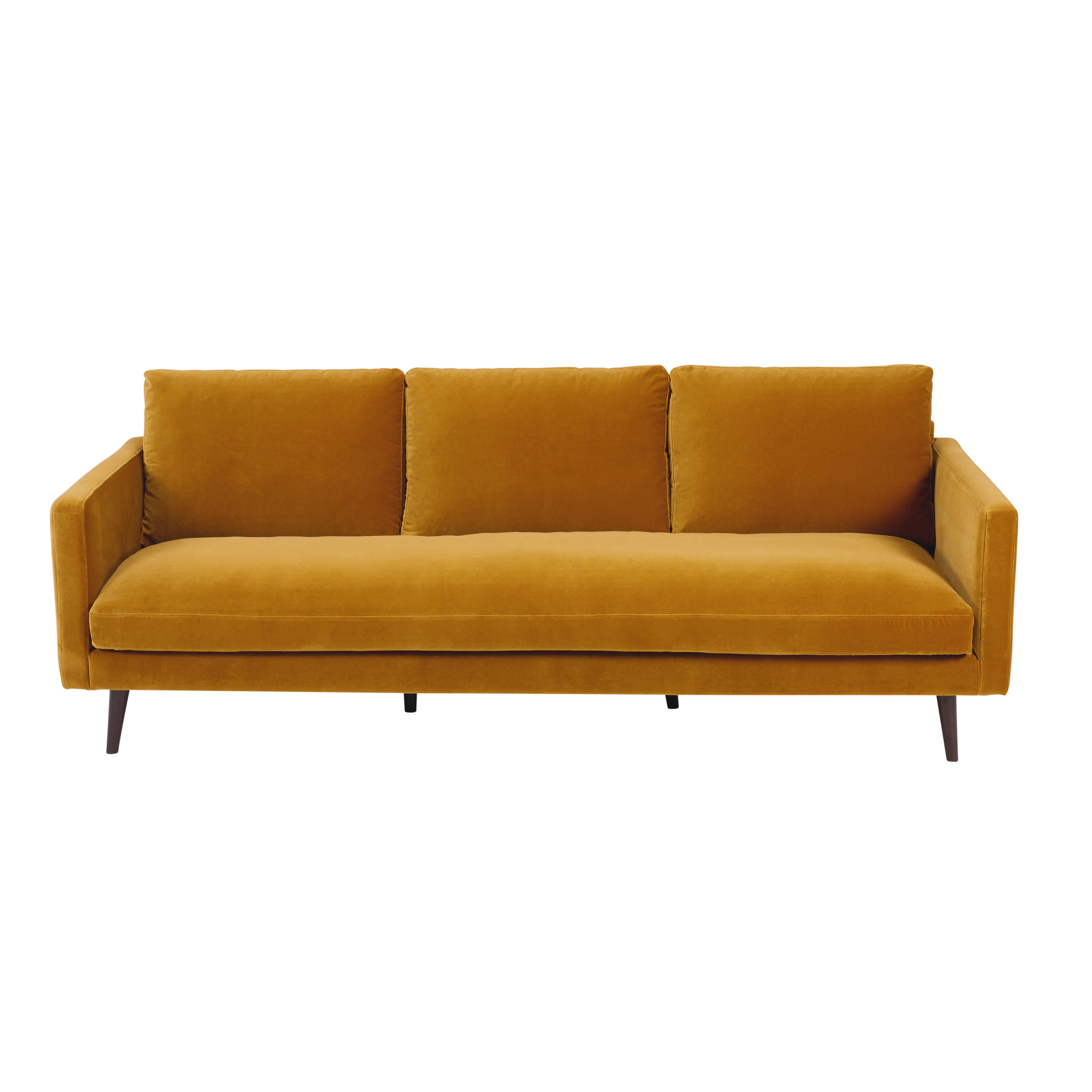 Canape 4 Places En Velours Jaune Moutarde Kant Samt Sofa Sofa Gelb Sofa Design