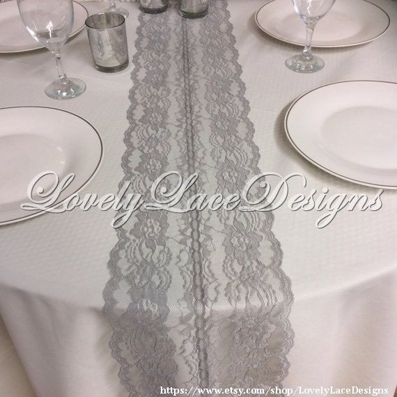 GREY Lace Table Runner 5ft 10ft X 8in Wide/ By LovelyLaceDesigns