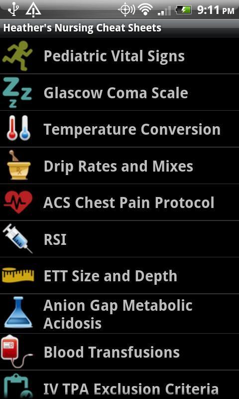 Heather's Nursing Cheat Sheets - screenshot