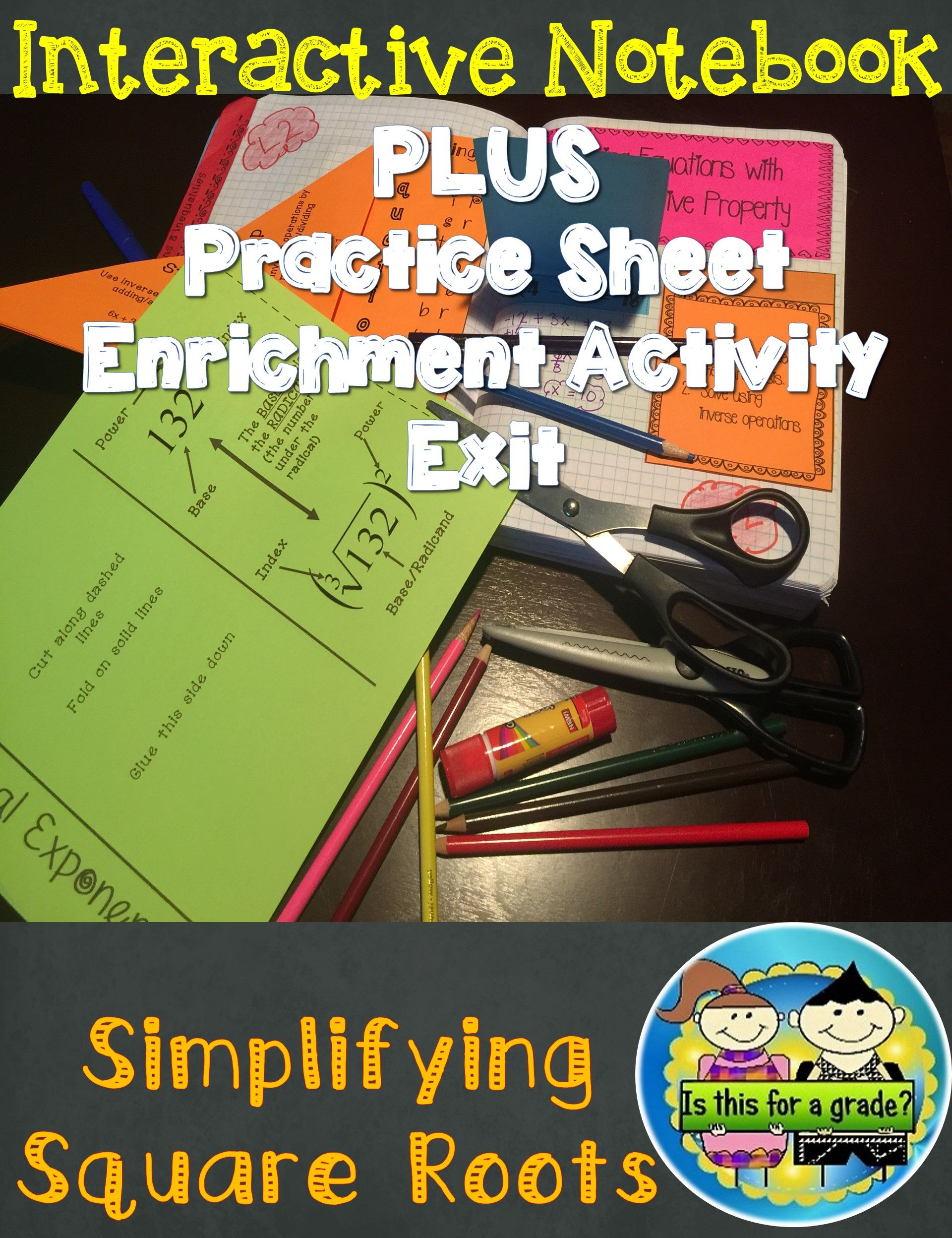 Simplifying Square Roots Foldable Inb Practice Exit
