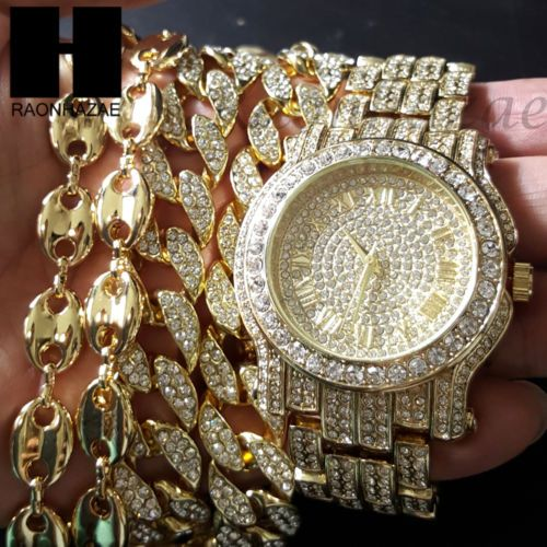 24e13693a6689 Details about New Iced Out Gold Plated Simulated Diamonds Pave Watch ...