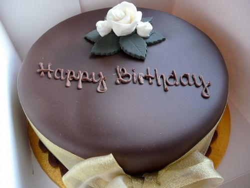 Simple And Elegant Happy Birthday Chocolate Cake