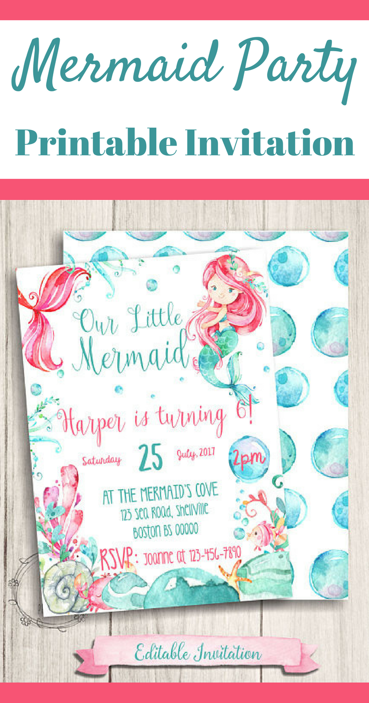 Printable Mermaid Party Invitations | Mermaid Birthday Party ...