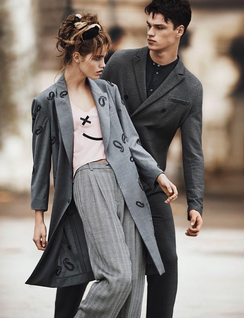 562beff95c4d Luna Bijl and Filip Hrivnak wear long coats star in Emporio Armani spring  summer 2016 campaign