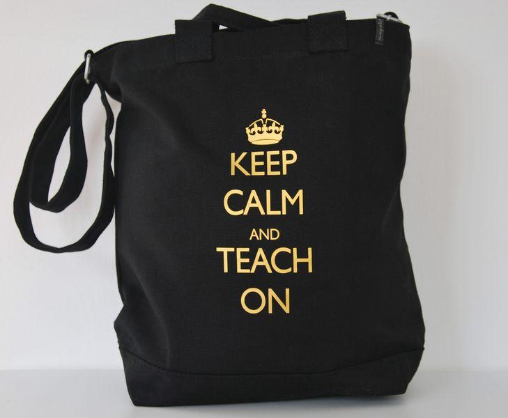 Umh ngetasche keep calm and teach on von for Geschenkideen rentenbeginn