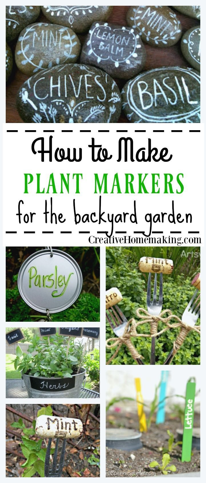 Creative Ideas For Making Homemade Plant Markers For Your Backyard Garden.  #backyardgardenideascreative