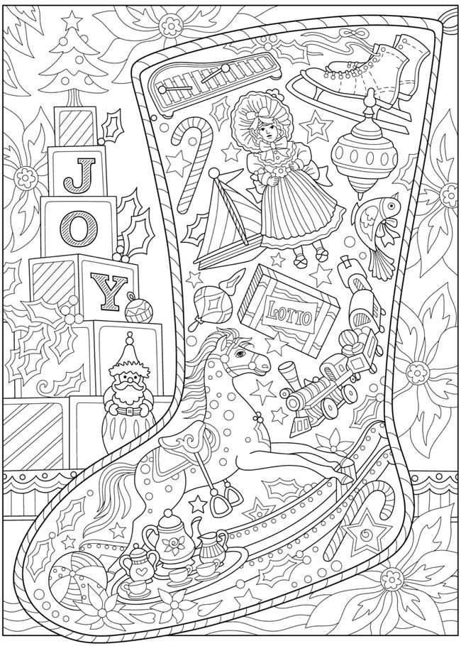 christmas detailed coloring pages | Welcome to Dover Publications | Art and Coloring Pages ...