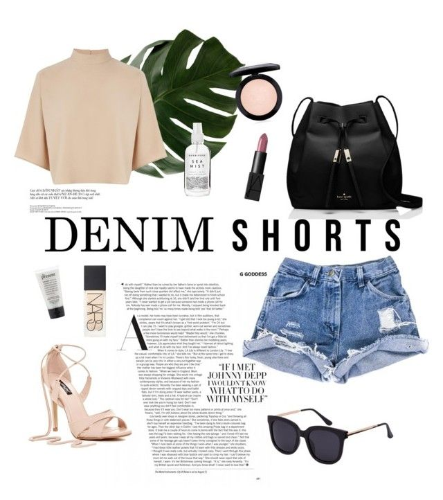 """Summer Style: Denim Shorts"" by l-yla-anne ❤ liked on Polyvore featuring Kate Spade, Warehouse, NARS Cosmetics, Herbivore, MAC Cosmetics, jeanshorts, denimshorts and cutoffs"