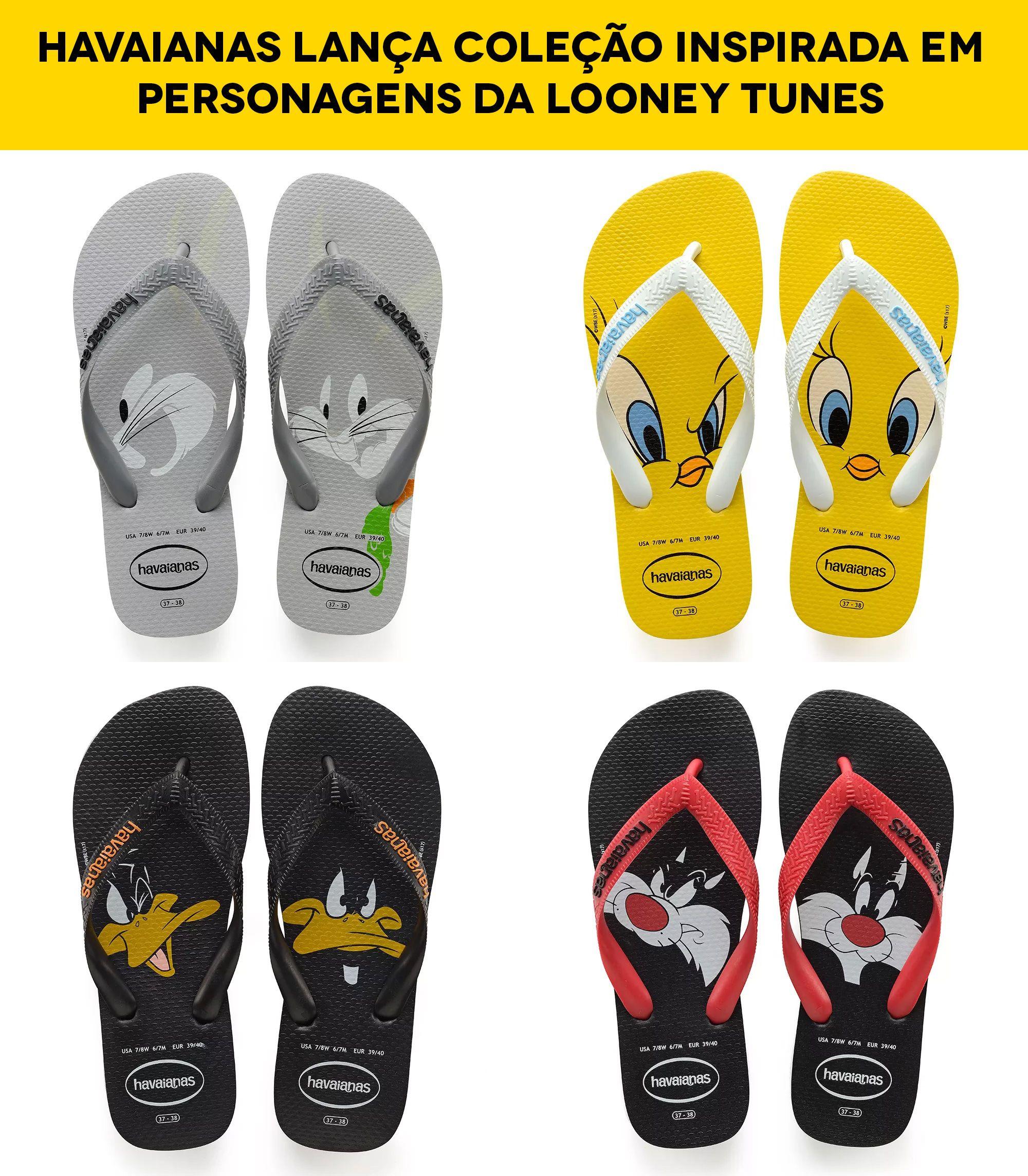 4db25c75a Nova coleção de sandálias da Havaianas aposta na irreverência dos  personagens da Looney Tunes como Pernalonga