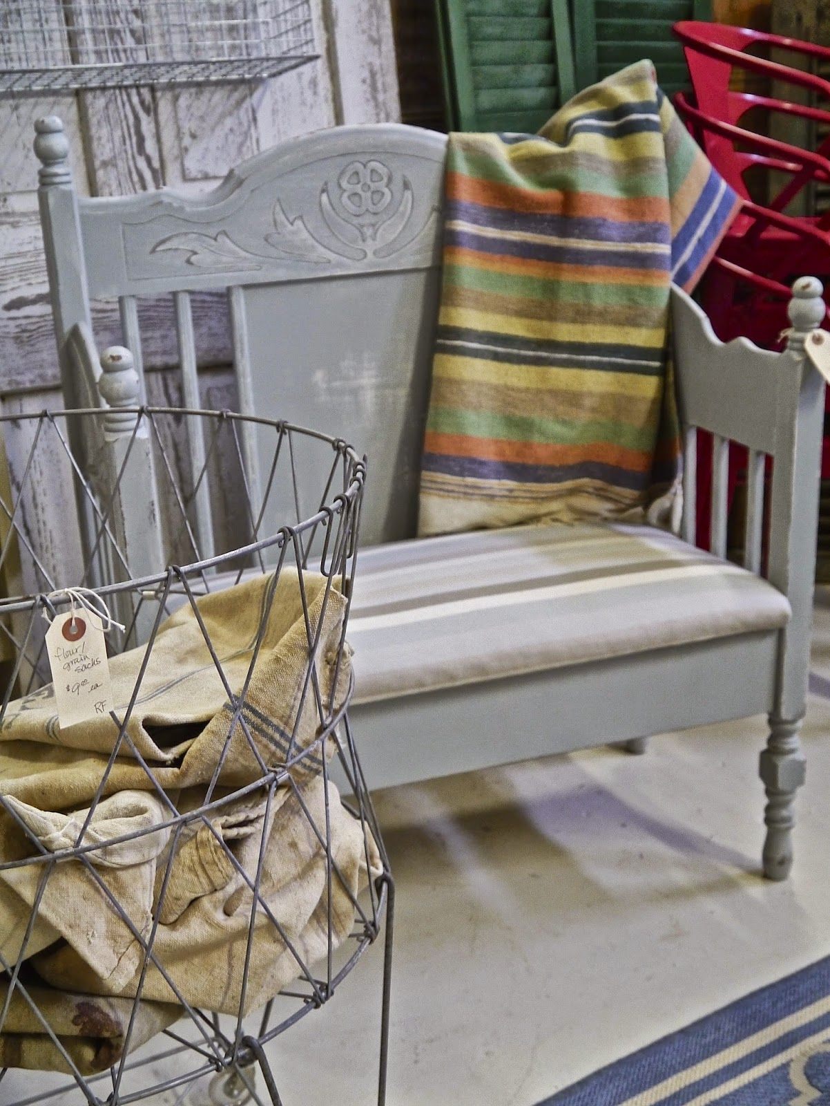Bench made from Vintage Bed Frame with cushion seat