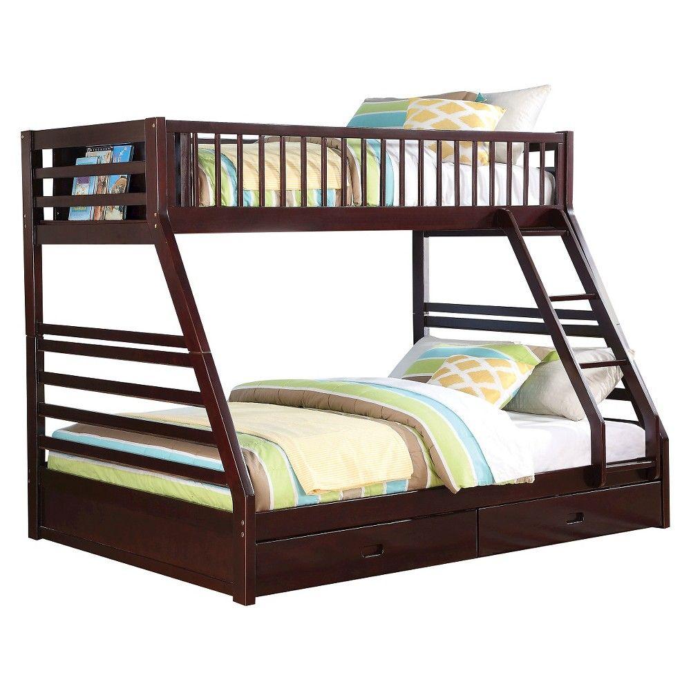 Jason Kids Bunk Bed Espresso(Twin/Queen) Acme, Size