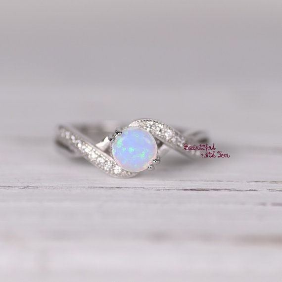 Womens Sterling Silver White Opal Ring Lap Created With Cubic Zirconia Promise For Her Engagement