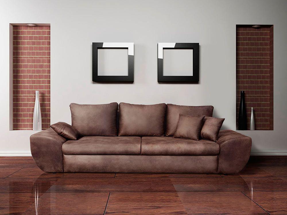 Big Sofa Mit Schlaffunktion Und Bettkasten Im Vintage Look Braun