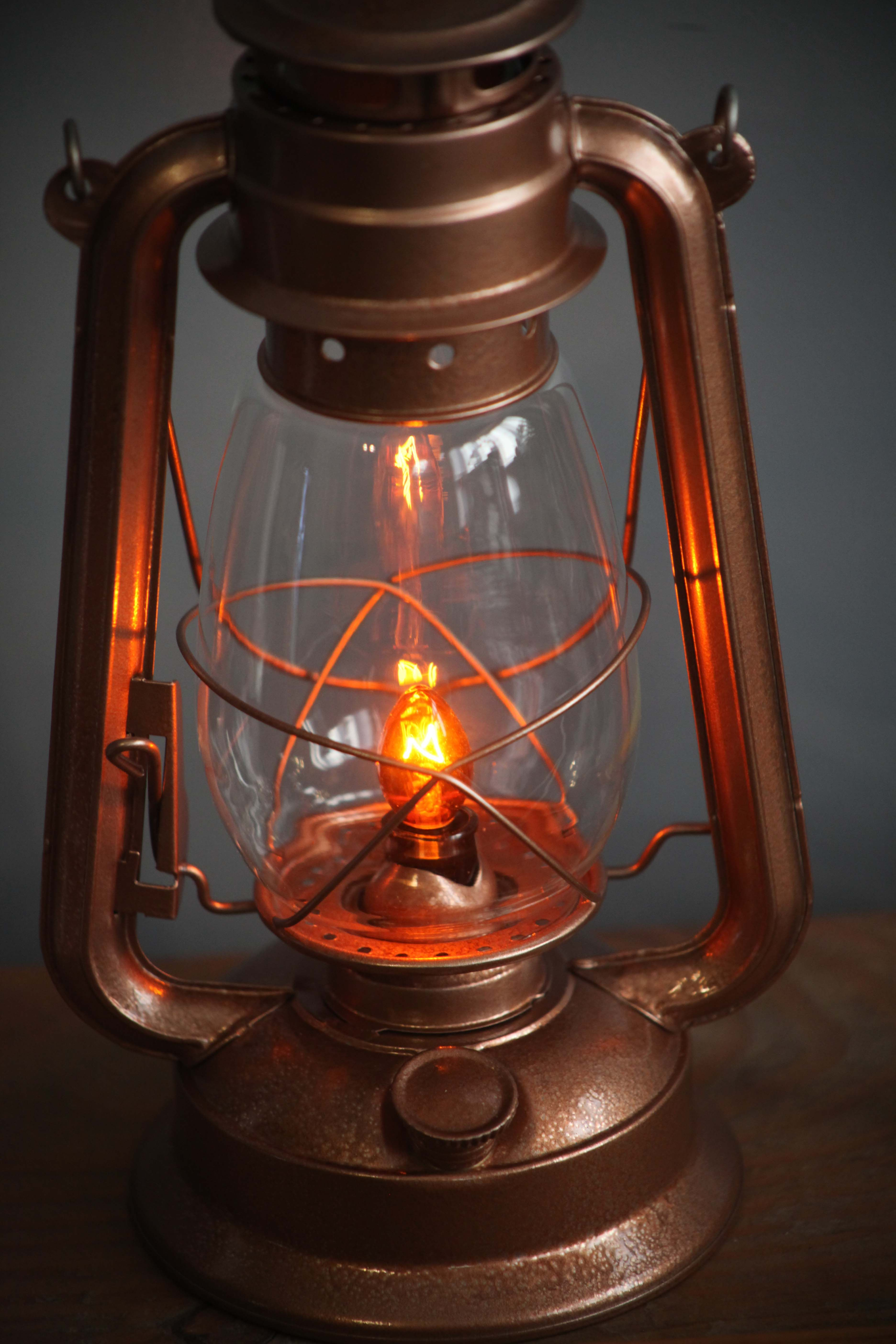 Electric Lantern Table Lamp Copper Hurricane Night Light Rustic