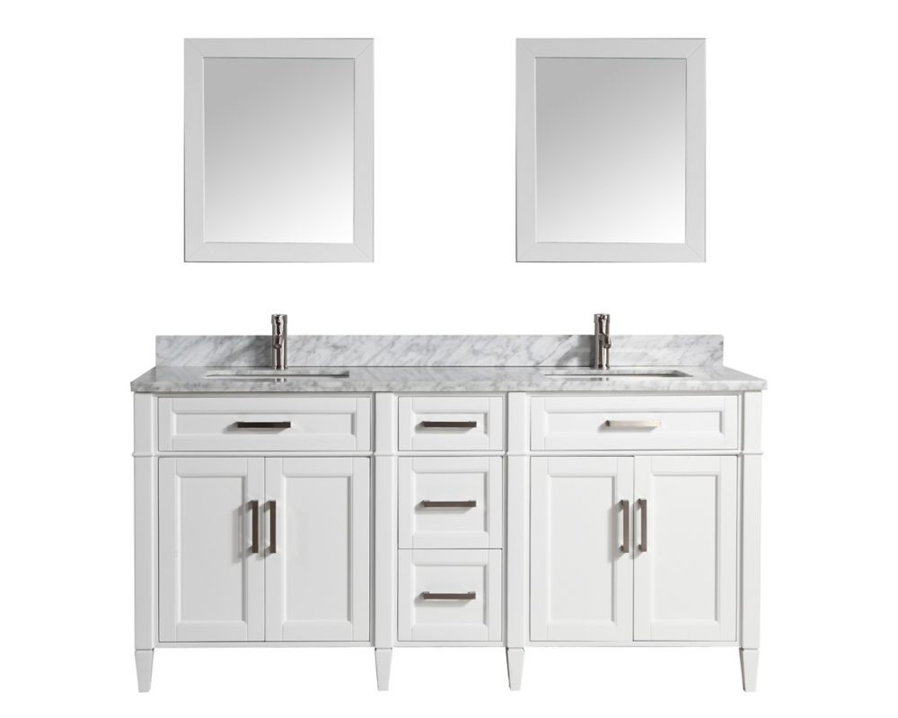 Savona 72 Inch Vanity In White With Double Basin Vanity Top In
