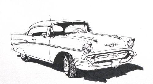 1950s-Chevy-Ink-Pen-Drawing-.jpg (500×274) | arty stuff | Pinterest ...