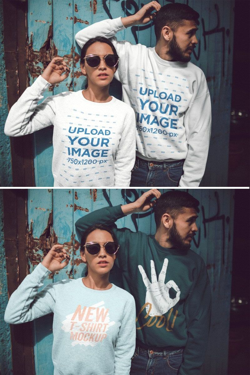 Download Placeit Hispanic Couple Wearing Different Crewneck Sweatshirts Mockup While Standing Against An Old Door Crew Neck Sweatshirt Clothing Mockup How To Wear